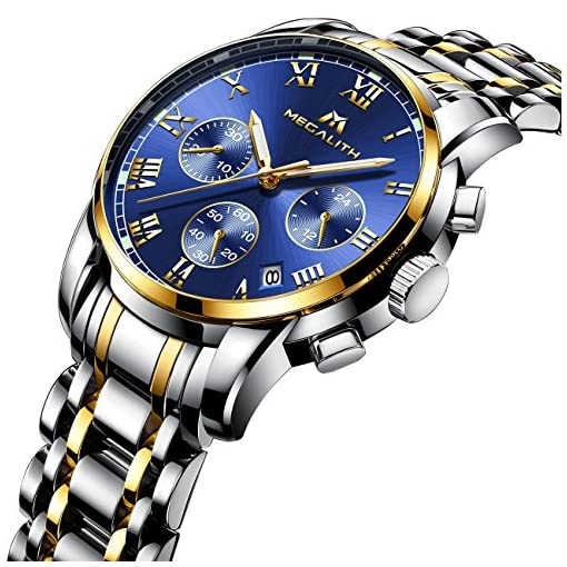 Mens Watches Men Waterproof Chronograph Luminous Luxury Rose Gold Wrist Watch Sport Dress Business Date Stainless Steel Watches for Man