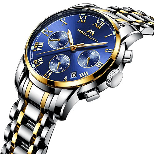 - 61r4toMVLdL - Mens Stainless Steel Chronograph Watches Men Luxury Waterproof Luminous Date Calendar Analogue Counts Watch Gents Sports Business Casual Dress Wrist Watch with Gold Case Roman Numerals Blue Dial