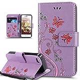 Coque iPhone 5C,Etui iPhone 5C,ikasus Peint coloré Embosser Papillon fleur Housse en...