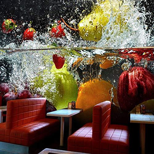 Fototapete 3D Stereoscopic Großes Wandbild Fruit Wallpaper Selbstklebende Cafe Saft Getränke Shop Restaurant Tea Shop Hintergrund Wallpaper250Cmx175Cm