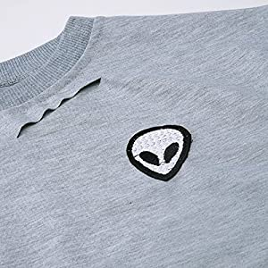 Choies Damen T-shirts Alien Druck Loch Rundhals Kurzarm Bauchfrei Sommer Basic Risse Crop Top Oberteil Tops