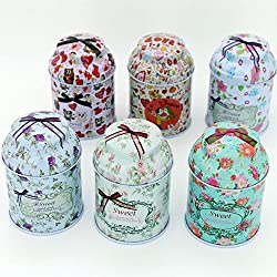 TooGet Elegante Metall-Weißblech leeren Dosen, Home Küche Lagerbehälter, Shabby Chic Mini-Boxen für DIY Kerzen, Trockenlagerung, Gewürze, Tee, Süßigkeiten, Partyartikel und Geschenke (Zylinder 6 Stück)