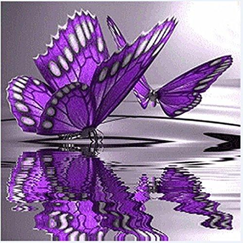 Preisvergleich Produktbild Igemy 30*30cm Schmetterling Blumen Diamant Stickerei 5D Diamant DIY Malerei Kreuz Stich Kunsthandwerk (30*30cm)