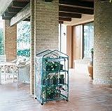 Verdemax - Serra da Terrazzo A 3 Ripiani Modello Siena Garden con Ruote