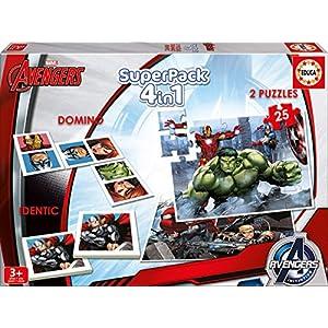 Los Vengadores – Superpack, 4 Juegos en 1: dominó, Identic, 2 Puzzles (Educa Borrás 16692)