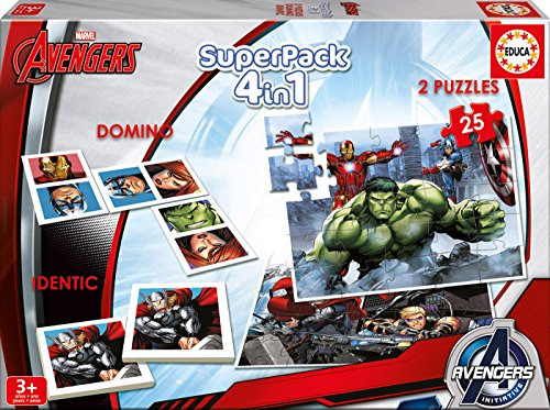 Los Vengadores - Superpack, 4 Juegos en 1: dominó, Identic,...