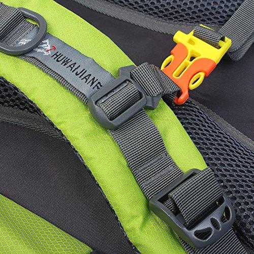 Hiking impermeabile zaino borsa zaino di sport all' aria aperta per arrampicata in montagna di pesca di campeggio di viaggio di sci Ciclismo con copertura di pioggia, porpora Verde