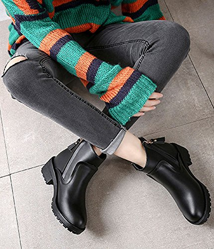 Minetom Femmes Automne Hiver Bottes Élégantes Avec Talon Mode Bout Rond En Peluche Bottines Zipper Martin Bottes Chaussures Noir (plus Velours)