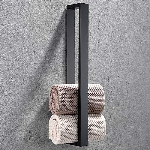 Celbon 40cm Handtuchhalter Ohne Bohren Badezimmer Handtuchhalter Selbstklebend Handtuchstange Badetuchhalter Gästehandtuchhalter Edelstahl (Schwarz)