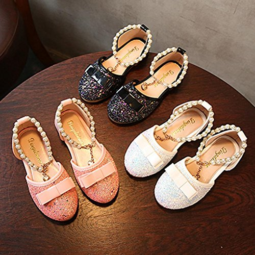 QInMM Ballerines Filles Paillettes Bowknot Perle Perlé Chaussures en Cristal, Bébé Mode Enfants Princesse Danse Cuir Occasionnels Unique Chaussures Mocassins