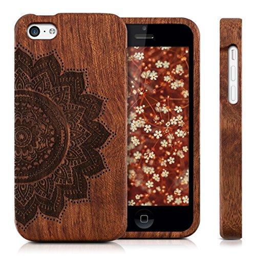 kwmobile Hülle für Apple iPhone 5C - Rosenholz Case Handy Schutzhülle - Hardcase Cover Elefantenmuster Design Dunkelbraun Halbblume Dunkelbraun