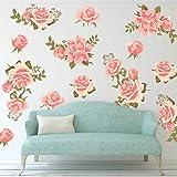 decalmile Muurstickers Roze Roze Muurtattoos Bloem Wanddecoratie Kunst DIY Huisdecoratie Slaapkamer Huiskamer Decoratie