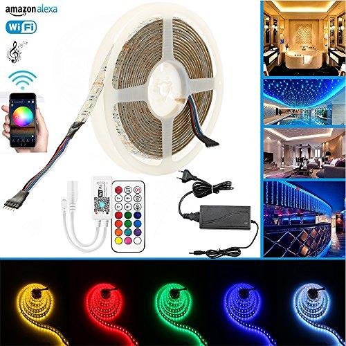 RGBWW IP65 LED Streifen Arbeitet mit Alexa, Google Home, IFTTT,Smart Phone Gesteuert Led Strip 5m Lichterkette 300LED Band Lichtleiste Leiste Full Kit