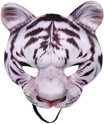 Flyshow Maske Unisex Bösewicht Kostüm Partyball Halloween Cosplay Mardi Gras Halbes Gesicht Tiger Maske