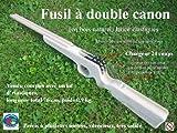 Fusil en bois lance élastiques à double canon - 24 coups à répétition