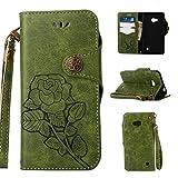 Lederhülle für Microsoft Nokia Lumia 640 Hülle, ZCRO Leder Handytasche Hülle Retro Style Blumen Muster Wallet Flip Case Handyhülle Geldbörse Etui Vintage Schutzhülle Taschen mit Kartenfach Magnet Strap Lanyard Schale Cover Hüllen für Microsoft Nokia Lumia 640 (Retro Grün)