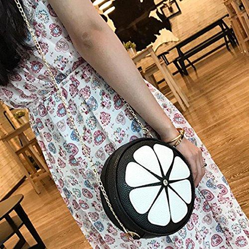 BZLine® Frauen Leder Kette Handtasche Crossbody Schulter Messenger Tasche Schwarz