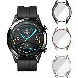 [3-pack] ELYCO för HUAWEI Watch GT 2 46 mm skärmskydd, TPU reptålig ramskyddande fodral fullt täckfodral för Huawei Watch GT