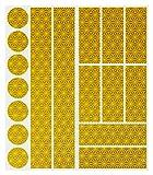 Reflexfolie-Set (17 Stück) HiPerformance Reflektor-Aufkleber zur Sicherungs-Markierung von Kinderwagen, Fahrrädern, Helmen mit Stickern - selbstklebend und hochreflektierend (gelb)