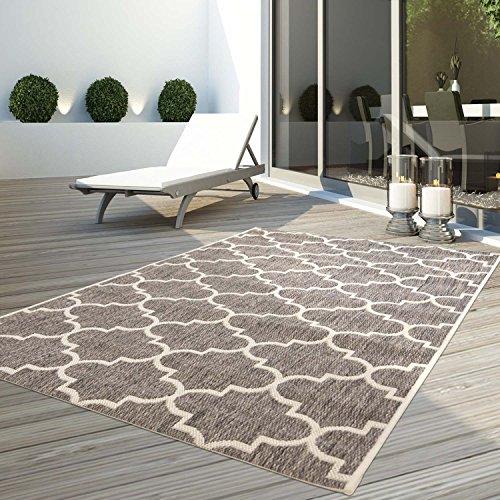 CC Teppich Flachflor Terrassenteppich Außenteppich Modern Outdoor fest Geknüpft Outside Outdoor Verschiedene Designs, Größe in cm:120 x 170 cm, Sunset:Gitter-Beige
