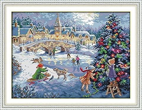 YEESAM ART Neu Kreuzstich Stickpackung - Weihnachten Feierlichkeiten 14 CT 52×40 cm DIY Stickerei Set Weiß Segeltuch - Kreuz Nähen Handarbeit Weihnachten Geschenke Cross Stitch (Designer Christmas Tree Topper)