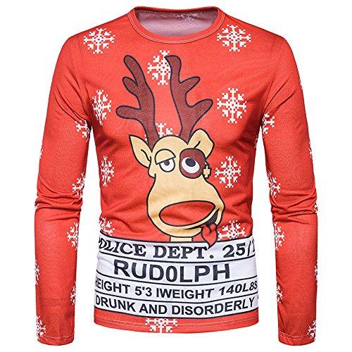 KPILP Kapuzenpullover Herren Pullover Ugly Weihnachten Printing Outwear Top Langarm T-Shirt Bluse Herbst Winter - Feuerstein Kleinkind Kostüm