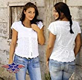 Country Westernbluse Dame - VIRGINIA - Gr. L - Sexy Stars & Stripes weiß Bluse Wild West Line Dance Kleidung