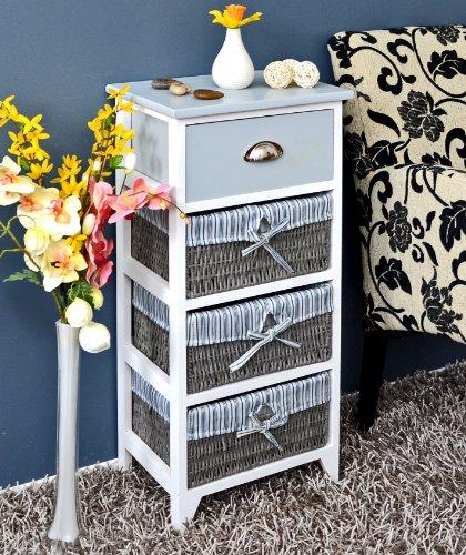 ts-ideen Landhaus Kommode Schrank Bad Regal in grau weiss mit einer Schublade und drei Körbe mit einem Stoffbezug in Blau (Regal Körben Mit)