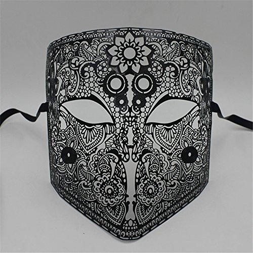 Maskerade,Grimasse Make-up Maske Abschlussball Venedig Metall Full Face Karte Halloween Party Maske Cosplay Männer und Frauen schwarz Masquerade (Spielen Make-up Halloween-karte)