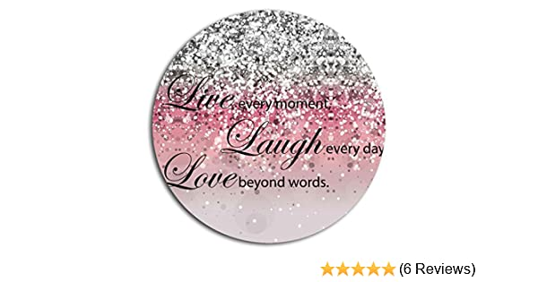 BOSLIVE Gaming Mouse Pad Life Quotes Live Laugh Love Pink Background Office Desktop Rubber Non-slip Round Mouse Mat 7.87x7.87