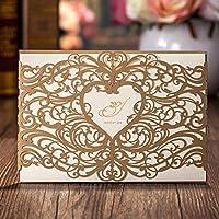 50 X Wishmade oro Laser taglio nozze inviti carte set con cuore Bomboniere Hollow invito cartoncino per fidanzamento Bridal Shower Baby doccia compleanno laurea CW5018