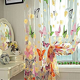 Attractive beauty Door Window Balcony Butterfly Print Tulle Voile Sheer Curtain Panel