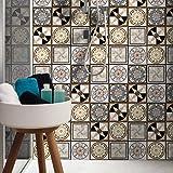 Fasloyu 16pcs facile à appliquer DIY de salle de bain/cuisine adhésif pour carrelage de sol Art Stickers pour carrelage papier peint 20cm * 20cm D multicolore