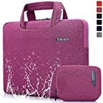 BRINCH Universal Fabric Portable Thin Light Durable Waterproof Anti-tear 15 - 15.6 Inch Laptop Pouch Sleeve Case Bag / Carrying Handbag Briefcase / Laptop Messenger Bag, Ultra Protective With Soft Foam For 15 - 15.6 Inch Laptop / Macbook / Notebook /Tablet / Ultrabook Computers( Apple / Acer / Asus / Dell / Fujitsu / Lenovo / HP / Samsung / Sony / Toshiba),Fashion Design Of Front Pocket,Two Back Pockets,Middle Main Compartment With Handles and Accessory Bag- Purple