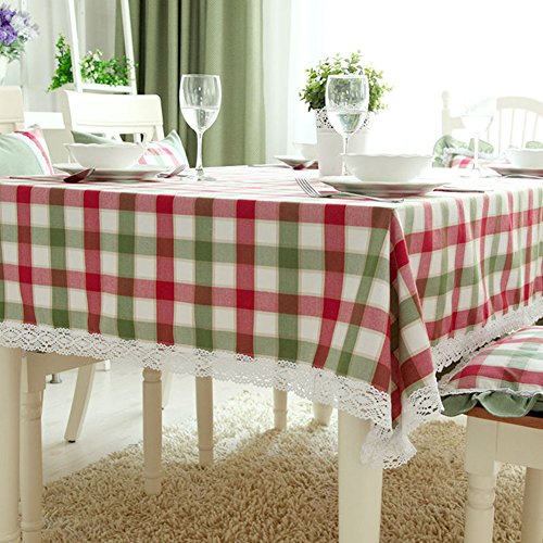Bbdsj Raster tischdecke,Modernes Zuhause tischtuch,Spitze Grün Rot Karierten tischdecke Tee tischdecke Sauber-A 140x190cm(55x75inch) (Rot Karierten Tischtuch)