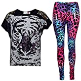 New Girls Tigergesicht Aufdruck Party Fashion Top T Shirt & Leopard Leggings Set 7 8 9 10 Jahre Alt 11 12 13 Jahre - Schwarz Top & Leggings Set, 146-152
