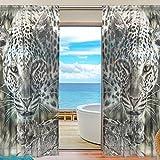 yibaihe Fenster Vorhänge, Gardinen Platten Fenster Behandlung Set Voile Drapes Tüll Vorhänge afrikanischem Tier Leopard 2Einsätze für Wohnzimmer Schlafzimmer,(140cm x 213cm )