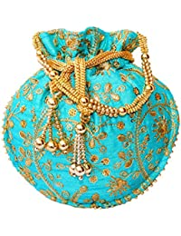Dms Retail Designer Multi Colred Floral Embroidered Silk Potli Bag Ethnic Clutch Batwa Bag With Metal Beadwork...