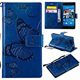 Laybomo für Sony Xperia Z3 Compact Ledertasche Schuzhülle Weiches TPU Silikon Slim Flip Cover Magnetisch Brieftasche Schale Handyhülle für Sony Z3 Compact mit Kartensteckplatz, 3D Schmetterling (Blau)