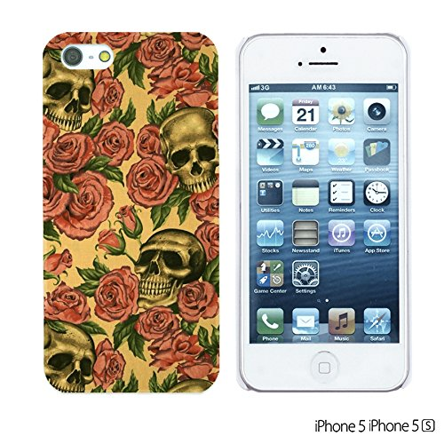 OBiDi - Skull Pattern Hardback Case / Housse pour Apple iPhone 5S / Apple iPhone 5 - Gentlemen Sugar Skull Roses And Skull Pattern