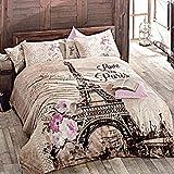 Paris Home 100% Baumwolle 4Single Twin Größe Tröster Set Eiffel Tower in Spring Floral Betten Bettwäsche