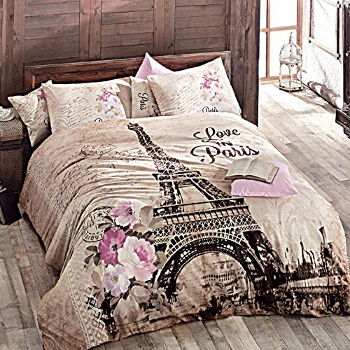 ND deconation 100% Baumwolle Tröster Set Single Twin Volle Größe Herbst in Eiffelturm in Paris Floral Thema Betten Bettwäsche Bettdecke Doona Blatt, Baumwolle, merhfarbig, Volle Größe -