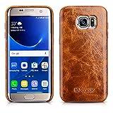 Luxus Back-Cover für Samsung Galaxy S7 EDGE (5.5 Zoll) / SM-G935 / Case Außenseite aus Echt-Leder / Schutz-Hülle mit Innenseite aus Textil / ultra-slim Etui / Tasche im Vintage Look / Farbe: Hell-Braun