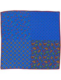 Luxury Silk Pocket Square / Men's Silk Handkerchief - Royal Blue/Green/Gold Paisley and Royal Blue,Green, Gold Floral