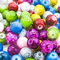 TOAOB 100 pcs Marble Pattern Glass Beads 6mm Round Glass Pearl Beads for Jewelry Making Assortment Mixed Colour