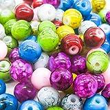 TOAOB 6mm Runde Marmor-Effekt Glasperlen Mischfarbe Packung mit 100 Stück