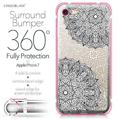 CASEiLIKE Coque iPhone 7 , Ultra Mince Crystal Case TPU Silicone Clair Transparente Exact Fit Soft Housse Etui Coque Pour iPhone 7 Art Mandala 2093