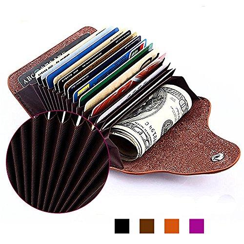 Kreditkartenetui, Echt Leder Kreditkartentaschen mit 15 Fächer, Geldbeutel Geldbörse für Verreisen / Außen / Shopping, Valentinstags Geschenk für Damen und Herren, Lila (High-end Damen-geldbörse)