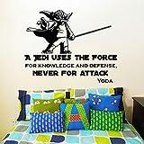 Para pared de Star Wars Yoda un Jedi utiliza la fuerza... Nunca para atacar adhesivo de vinilo dodoskinz dormitorio infantil decoración del hogar
