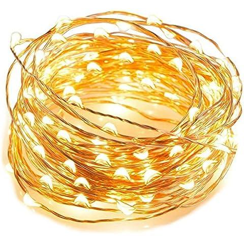 CMYK® Cadena Cuerda Luz Flexible 3m/10Ft con 60 LEDs de con de Batería 3AA(Batería No Incluye) para Iluminación DIY, Árboles de Navidad y Decoración Fiesta - Blanco
